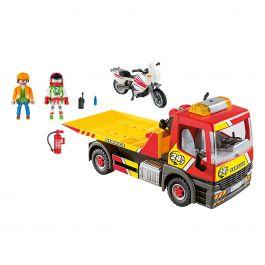 Vehículo de remolque con motocicleta y dos figuras de juego