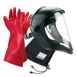 Kit aus Gesichtsschutz, Elektriker-Handschuhen und Tasche