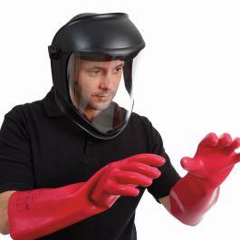 Kit de protector facial, guantes para electricistas y bolsa